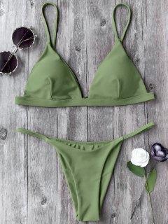 Spaghetti Straps Plunge Thong Bikini Set - Green S