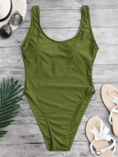 عالية قطع عارية الذراعين ملابس السباحة - أخضر M