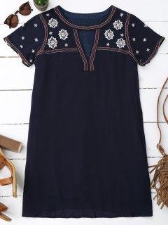 Floral Embroidered Mini Tunic Dress - Purplish Blue S