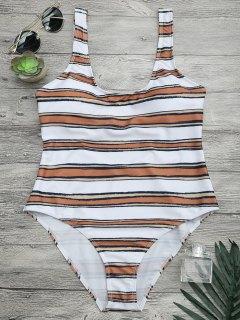 مخطط عالية قطع قطعة واحدة ملابس السباحة - الأبيض والبني M