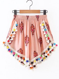 High Rise Pom Pom Beach Cover Up Shorts - Candy Coral S