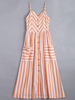 فستان زر مخطط كامي - شريط L