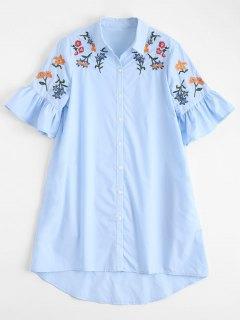 High Low Embroidered Ruffles Shirt Dress - Light Blue M