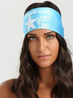 Letters Starfish Pattern Elastic Hip-Pop Headband - Azure