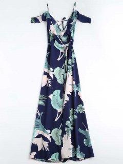 Leaves Print Cami Wrap Dress - Purplish Blue S