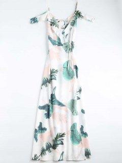 فستان طباعة الأوراق كامي لف - أبيض S