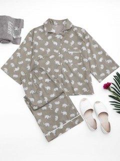 Loungewear Elephant Print Shirt With Pants - Gray S