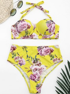 Underwire Floral Halter High Waisted Bikini - Yellow M