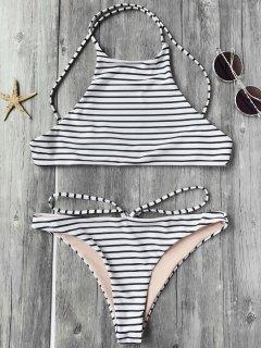 Striped High Neck Bikini Top And Bottoms - White And Black M