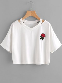 Floral Embroidered Cold Shoulder Top - White S