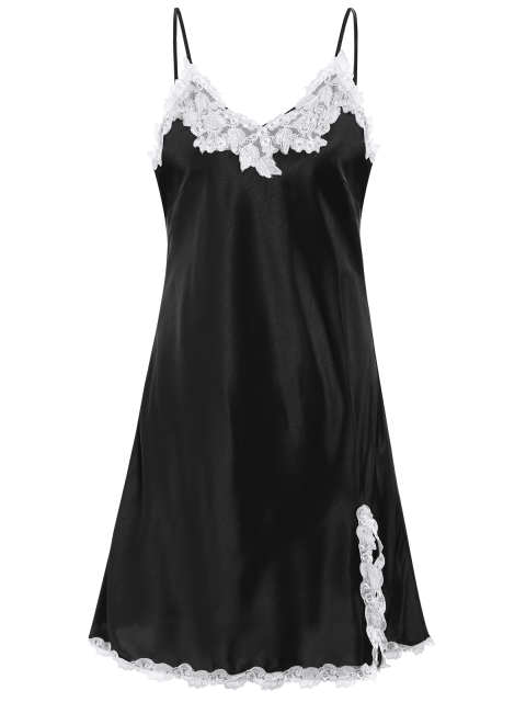 fancy Lace Trimmed Satin Slip Sleep Dress - BLACK XL Mobile