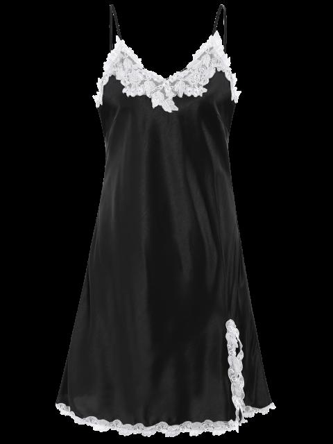 unique Lace Trimmed Satin Slip Sleep Dress - BLACK L Mobile