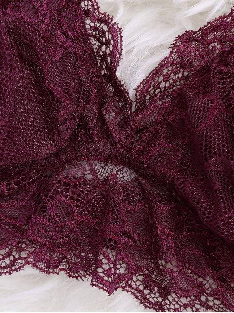 online Longline Floral Lace Bralette Top - BURGUNDY S Mobile