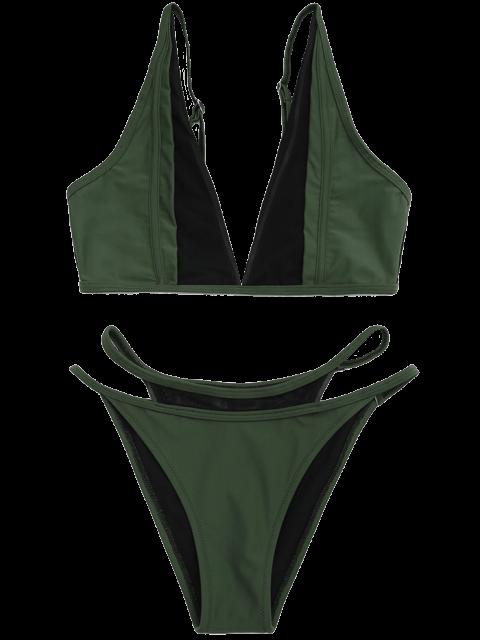 Ensemble de bikini inséré maille à bas levé - Vert Foncé XL Mobile