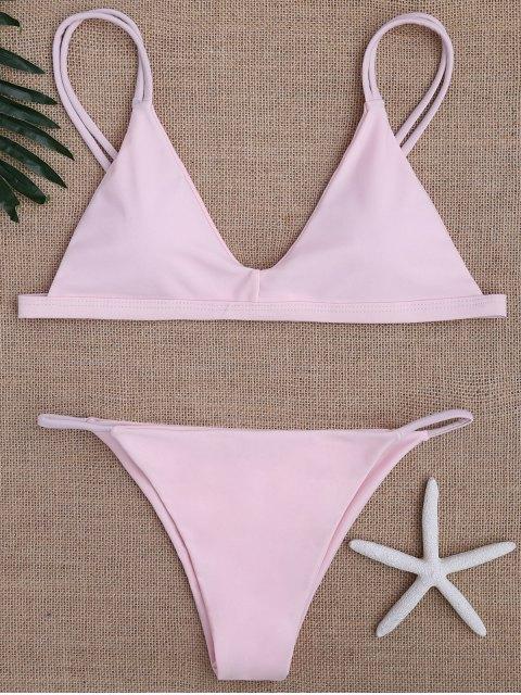 new Low Waisted Spaghetti Straps Bikini Swimwear - PINK M Mobile