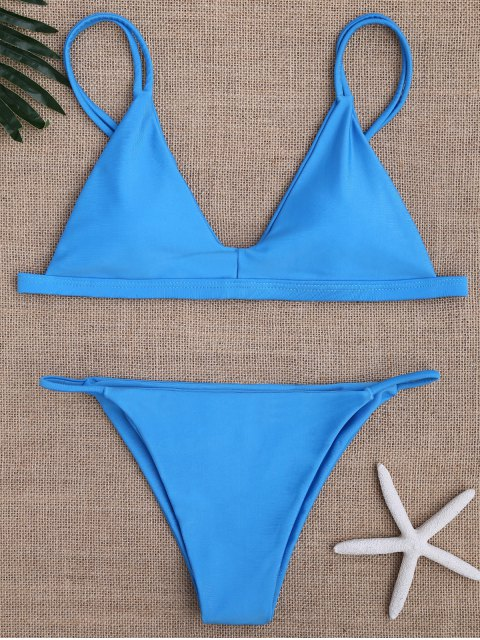 Bikinis maillots de bain taille basse à bretelles spaghetti - Bleu S Mobile