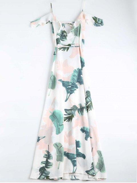 women's Leaves Print Cami Wrap Dress - WHITE S Mobile