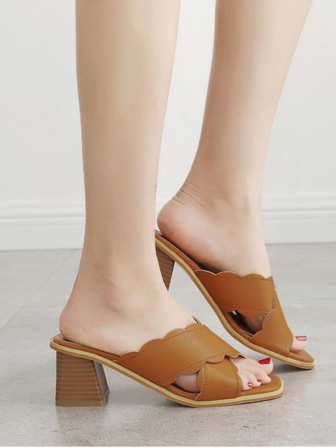 online Faux Leather Chunky Heel Scalloped Slippers - BROWN 39 Mobile