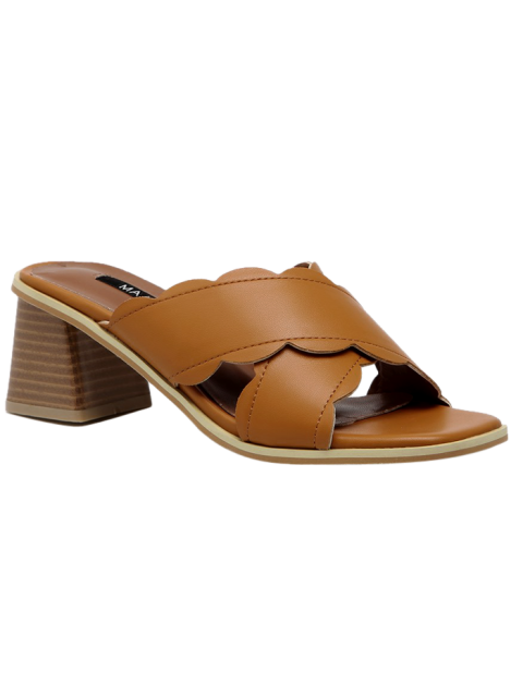hot Faux Leather Chunky Heel Scalloped Slippers - BROWN 38 Mobile