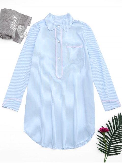 Arc Hem Striped Loungewear Chemise Robe - Rayure S Mobile