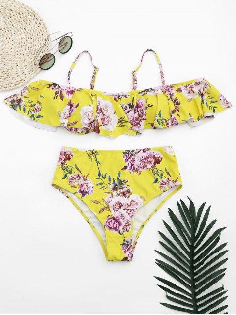 ensemble de bikini à taille haute à volants à encolure bateau à motif floral - Jaune S Mobile