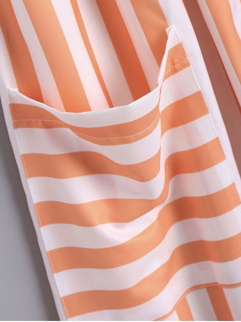 chic Button Up Striped Cami Dress - STRIPE L Mobile