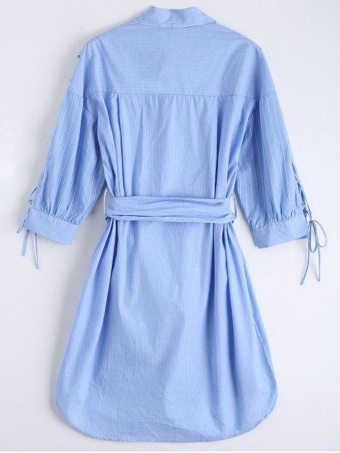 ladies Lace Up Sleeve Dip Hem Striped Shirt Dress - BLUE L Mobile