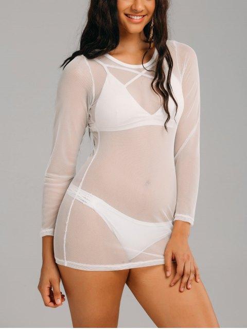Robe cover up en maille transparente à manches longues - Blanc 2XL Mobile