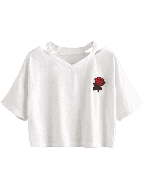 womens Floral Embroidered Cold Shoulder Top - WHITE S Mobile