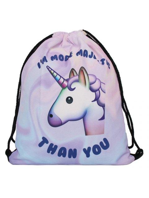 Unicorn Print Drawstring Backpack - Pourpre  Mobile
