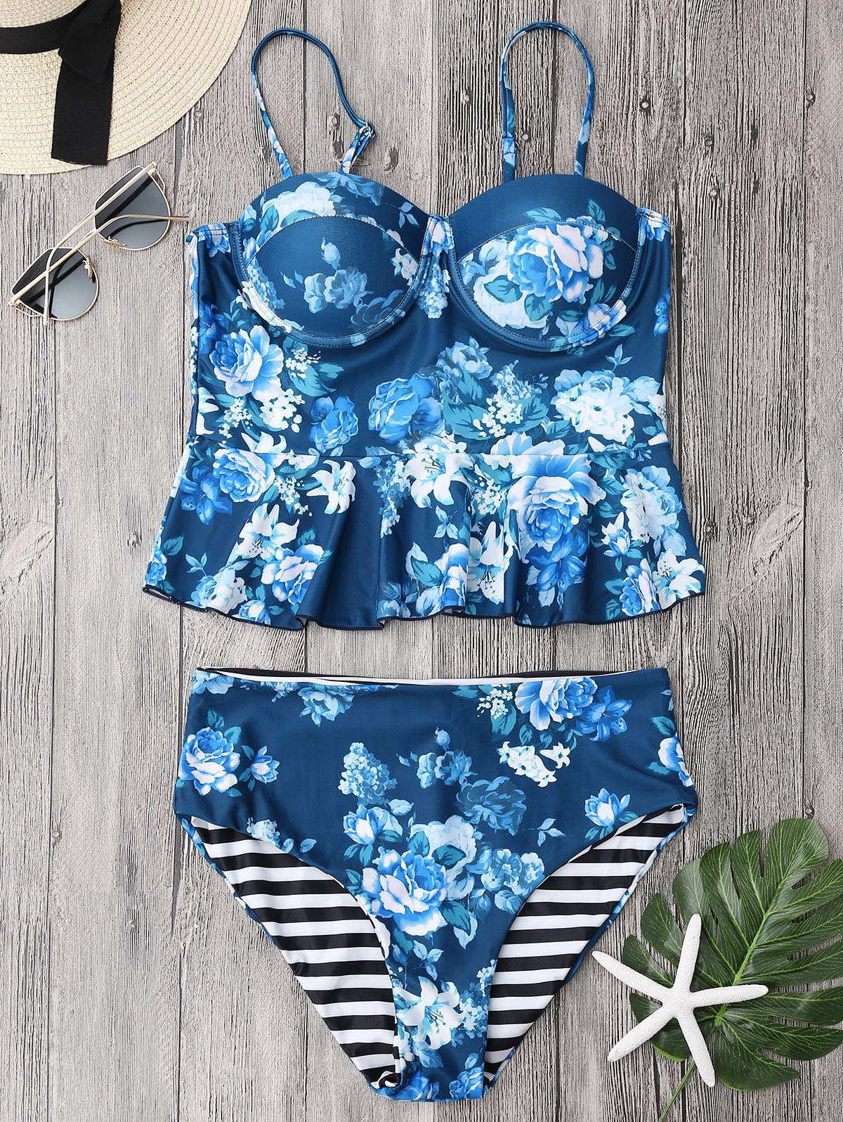 Cupped Tankini Top and High Rise Bottoms 216371701