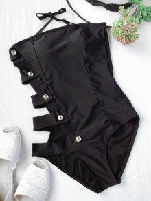 Padded Cut Out Bandage One Piece Swimwear - Black L
