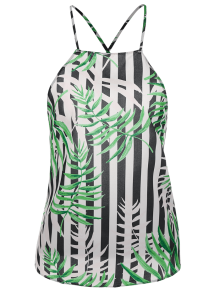 Bow Tie Bamboo Leaves Backless Tank Top