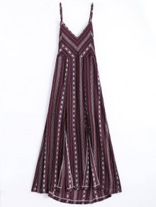 High Slit Criss Cross Beach Midi Dress - Wine Red L