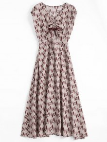 Floral Geometric Bowknot Midi Dress - Floral L