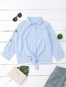 Embroidered Striped Knotted Shirt