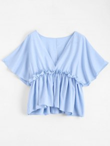 Batwing V Neck Ruffles Top - Light Blue S