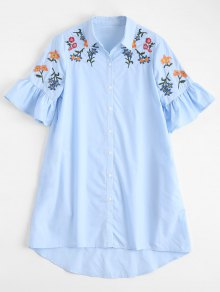 High Low Embroidered Ruffles Shirt Dress