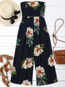 Floral Print Padded Bandeau Cropped Jumpsuit - Purplish Blue M