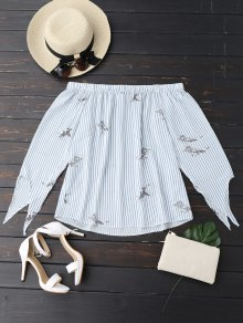 Flowy Stripe Bird Off The Shoulder Top - Blue And White L