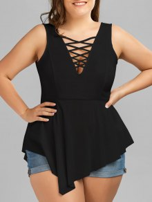 V Neck Crisscross Asymmetrical Plus Size Top