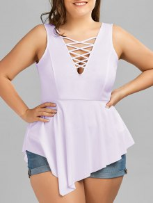 V Neck Crisscross Asymmetrical Plus Size Top - Light Purple 4xl
