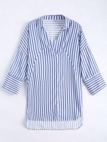 Chemise à Rayures Longues à Rayures Longues - Bleu M