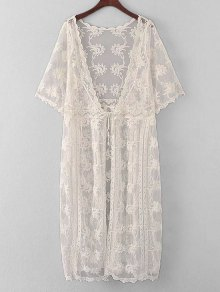 Embroidered Sheer Lace Kimono Cover Up
