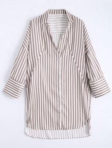 High Low Longline Striped Shirt