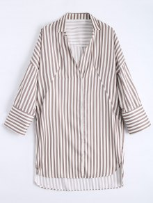 High Low Longline Striped Shirt