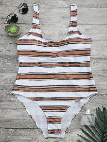 Striped High Cut One Piece Swimsuit