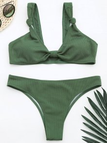 Ribbed Knotted Bowknot Bathing Suit - Light Green S