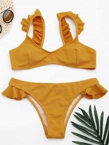 Conjunto De Bikini Con Volantes De Textura Acanalada - Jengibre L