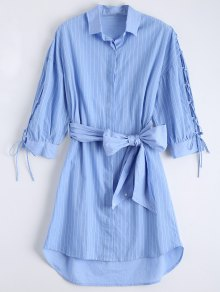 Lace Up Sleeve Dip Hem Striped Shirt Dress - Blue S